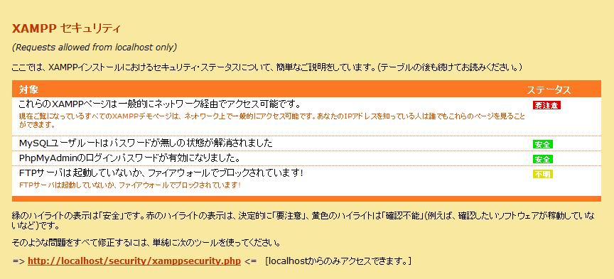 XAMPPセキュリティトップ画面